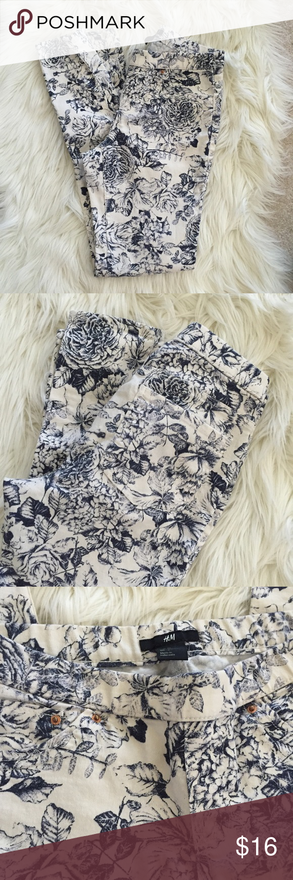 H&M Jeggings Adorable H&M floral navy blue and cream skinny jeggings in size 6. NOT ANTHROPOLOGIE -- just for visibility 😍 so cute and comfortable. Hope you enjoy! Anthropologie Jeans Skinny