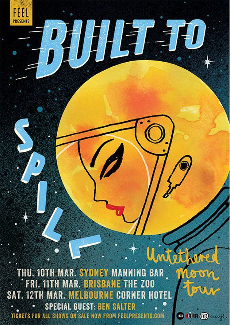 Built To Spill's Australian tour poster. By Neryl Walker.