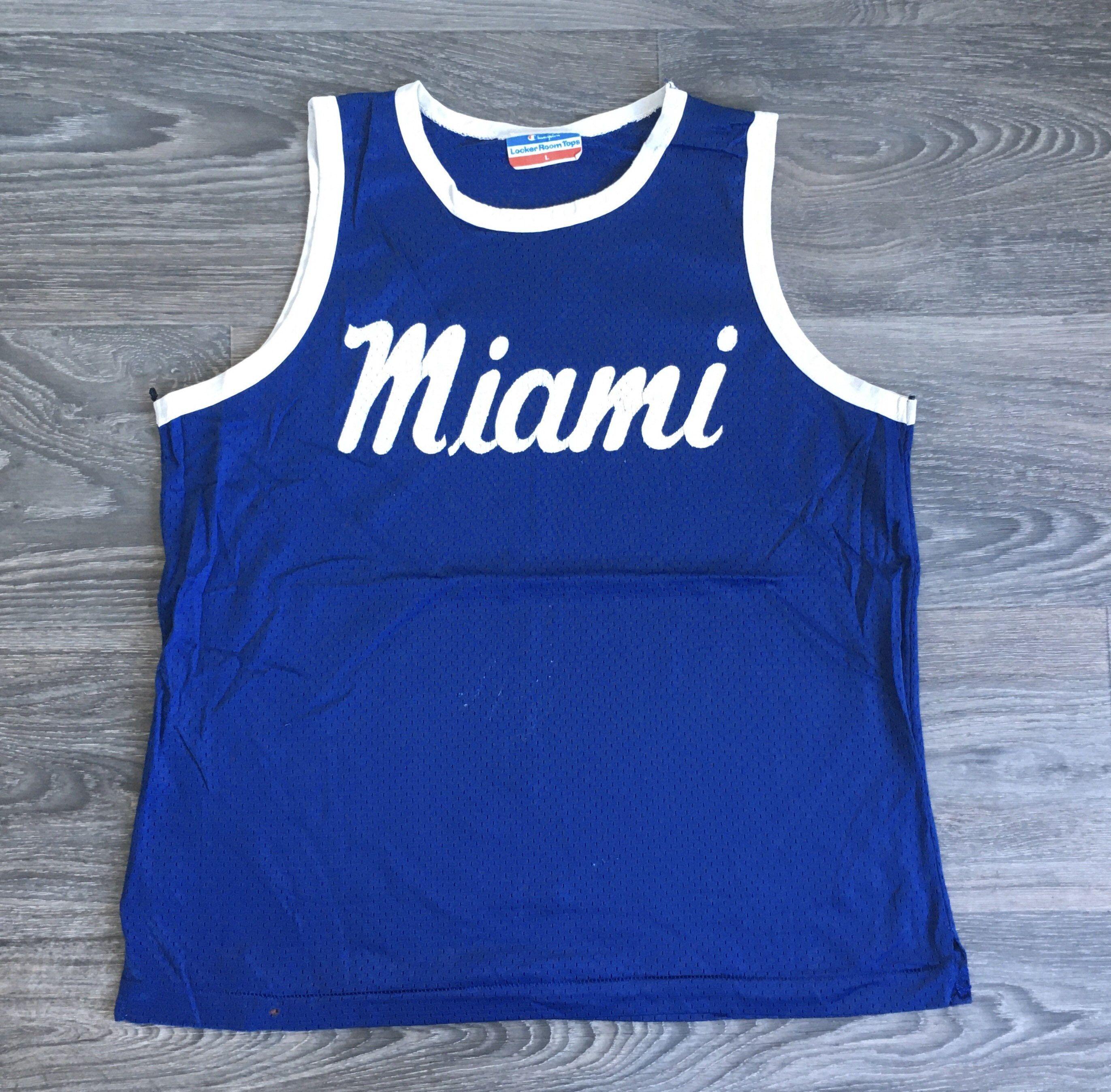 Miami Jersey 70 S Vintage Champion Locker Room Tops Etsy In 2020 Vintage Champion Muscle Tank Tops Vintage Jerseys