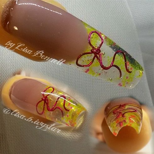Wire+bow+by+Ivystar+-+Nail+Art+Gallery+nailartgallery.nailsmag.com+by+Nails+Magazine+www.nailsmag.com+#nailart