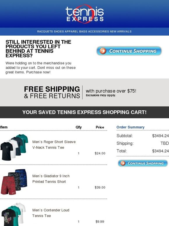 Don T Miss Out On These Items Tennis Express Email Auto