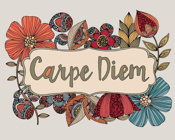 Carpe Diem Art Print By Valentina Harper Society6 Quadros Com Frases Ilustracoes Estampas