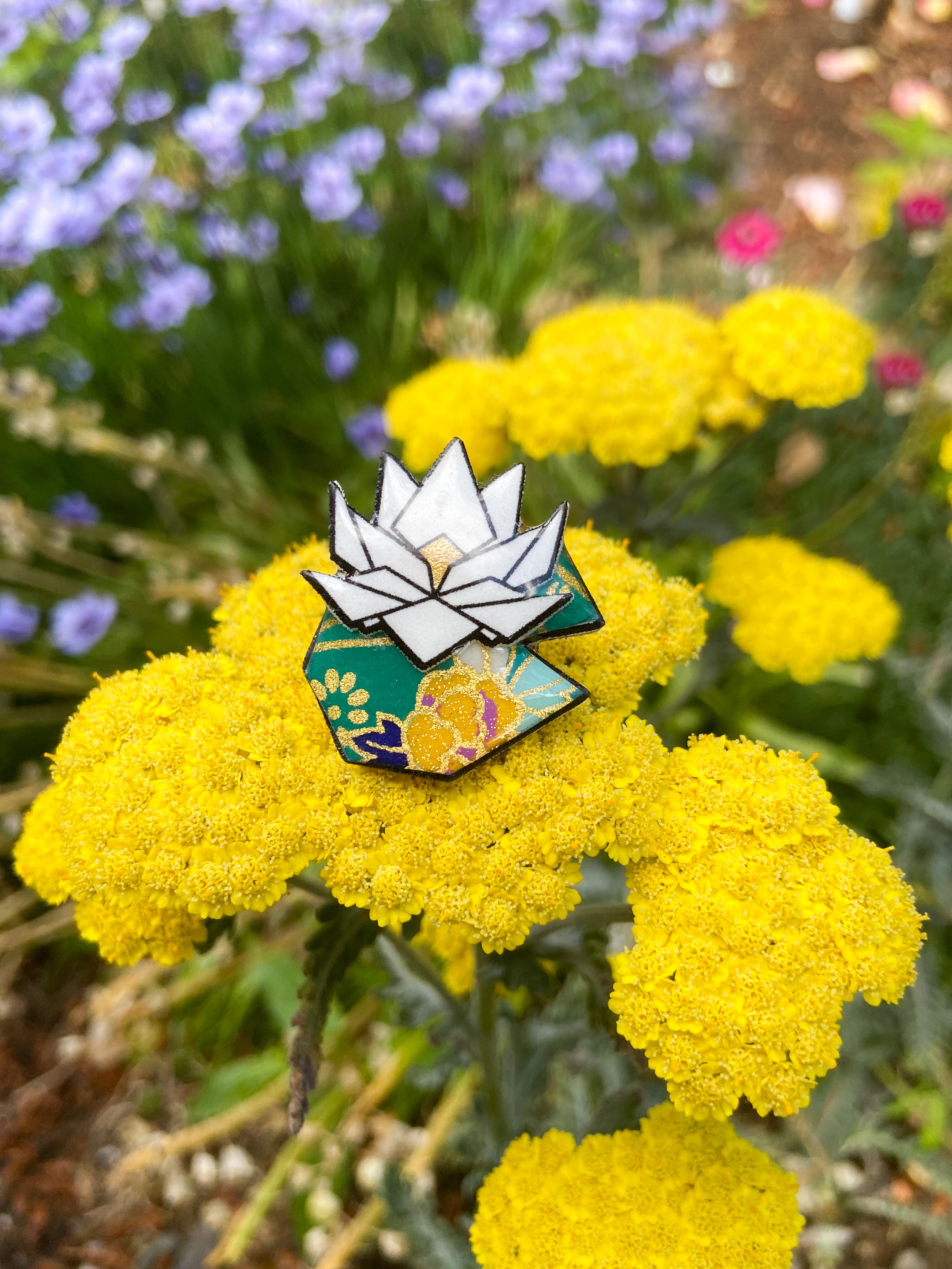 Photo of Handmade Origami Lotus Pin