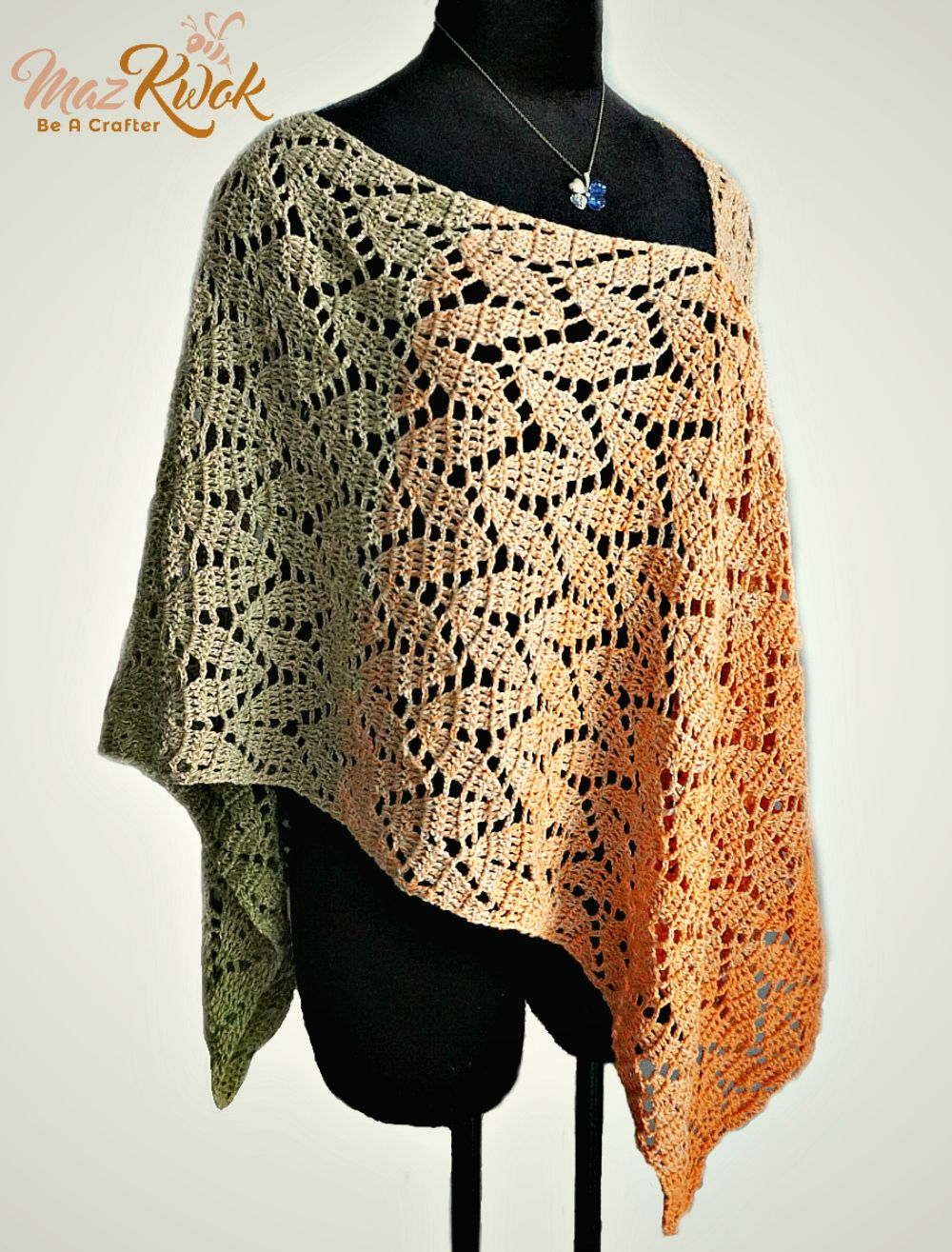 Learn how to crochet a lacy poncho with leaf texture and fine cake ...