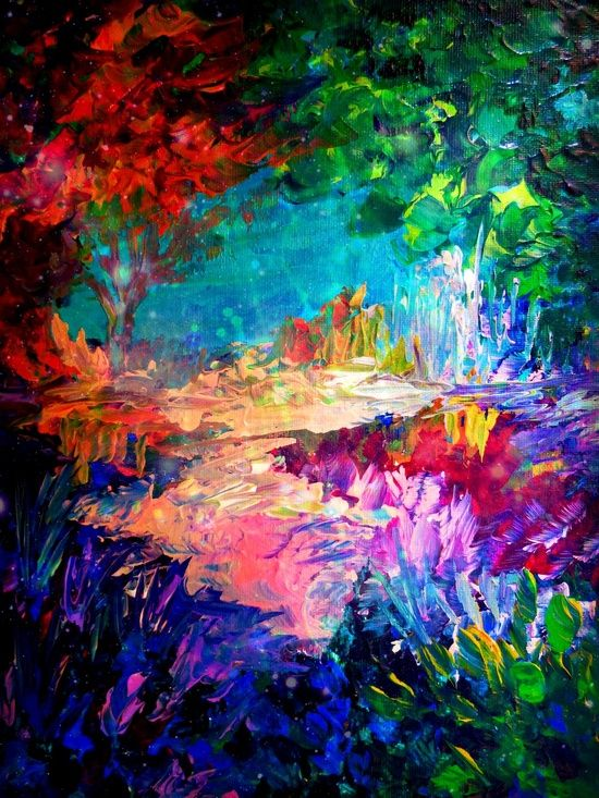 Welcome To Utopia Bold Rainbow Multicolor Abstract Painting Forest Nature Whimsical Fantasy Fine