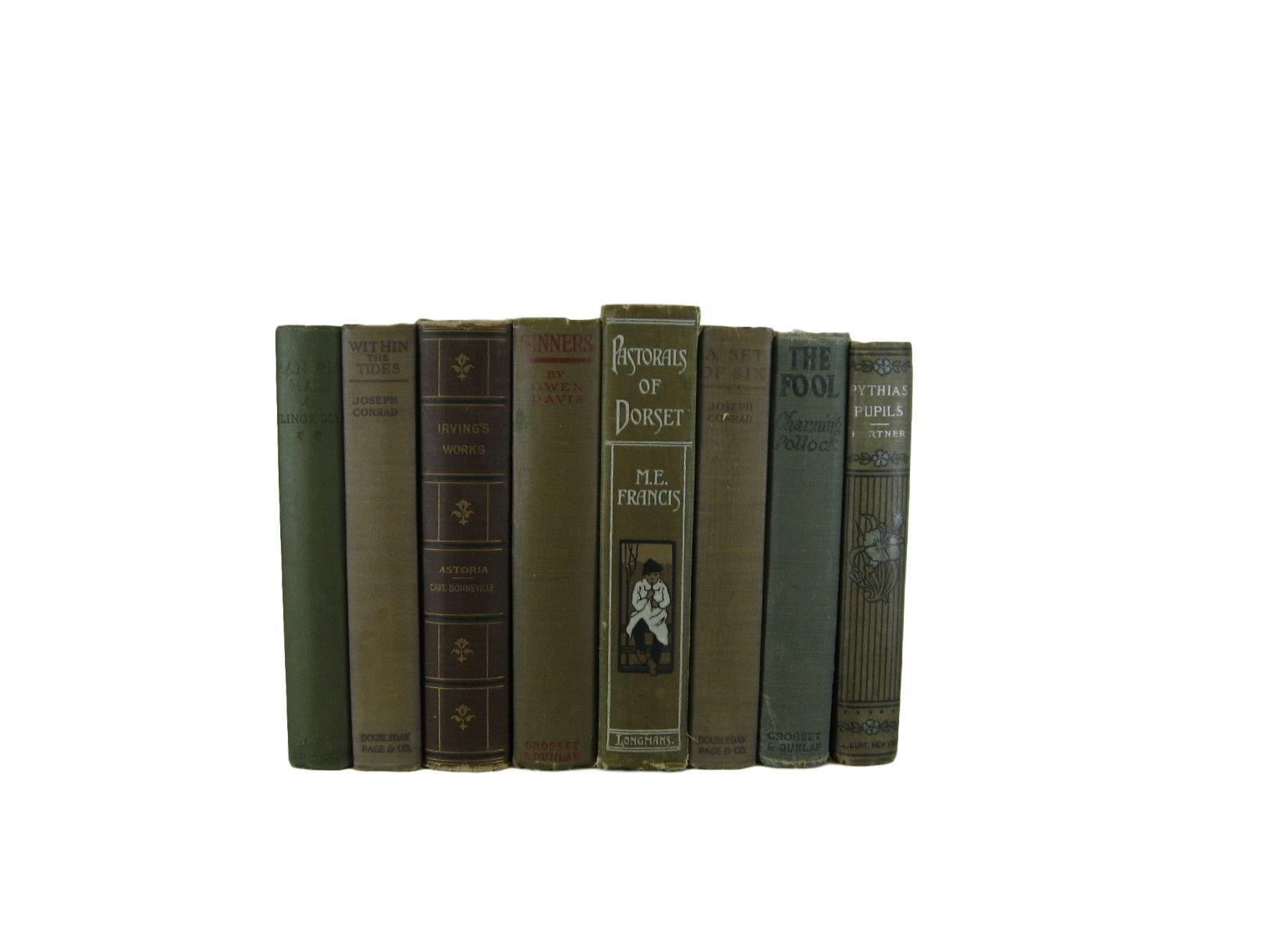 Green Bookshelf Vintage Book Set, S/8 #DecadesofVintage #bookhomedecor #booksbycolor #bookshelfdecor #decorativebooks #homedecor #interiordesign #oldbooks #stagingprop #vintagebookdecor #vintagebooks #vintagehomedecor