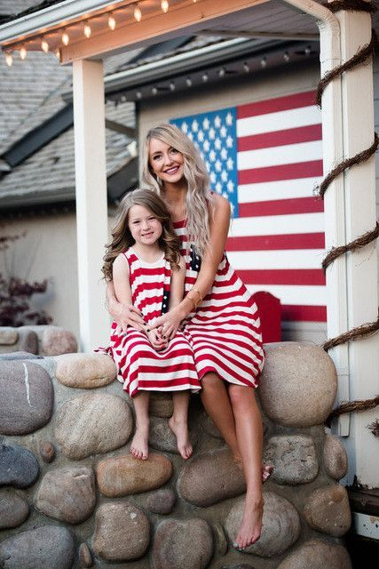 68ac5d7b32d29 July 4th Family Matching Dress Mother Daughter American Flag Stripe ...