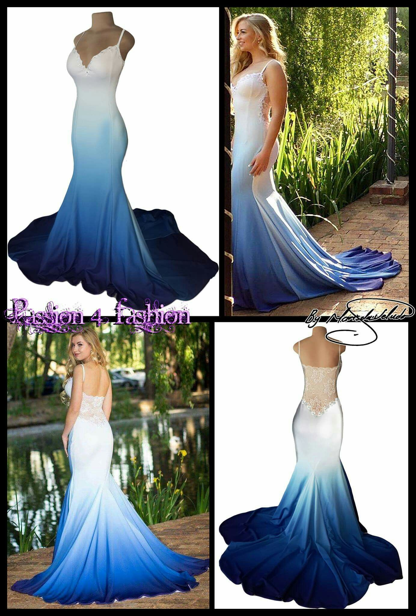 636cb7e865 White   blue ombre. Soft mermaid matric dance dress with a sheer lace back.  Custom printed fabrics . A sweetheart neckline. With a touch of silver  beads and ...