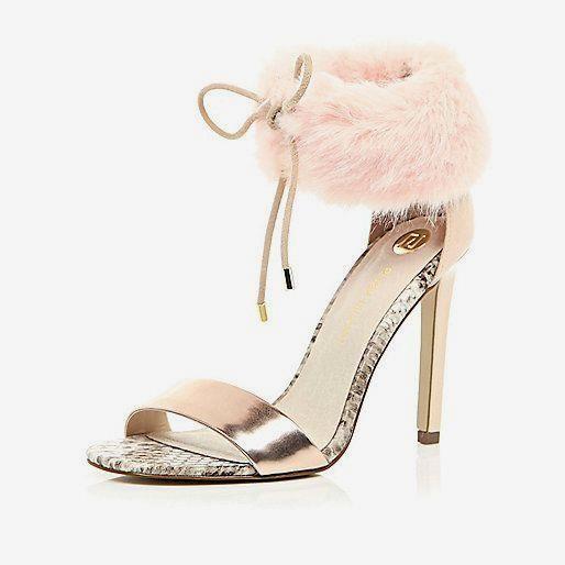 Light pink faux fur      Light pink faux fur ankle strap heels - heeled sandals - shoes / boots - women   £70