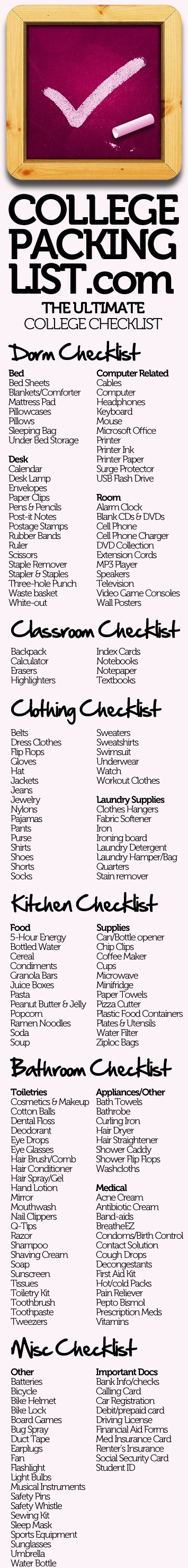 Dorm Checklist!
