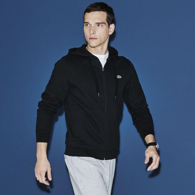 enfant revendeur plus récent Sweatshirt zippé à capuche Tennis Lacoste SPORT en molleton ...