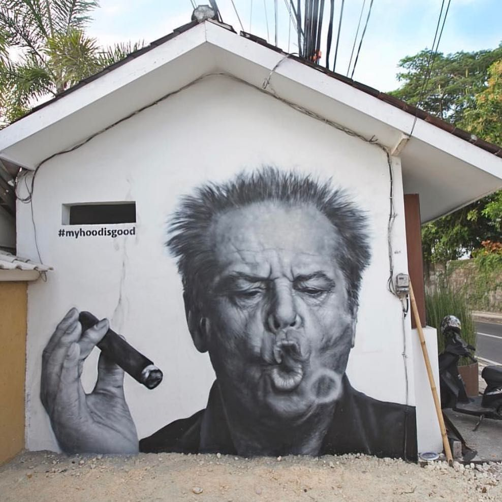 Street art in bali jack nicholson by myhoodisgood for Billie holiday life is beautiful mural