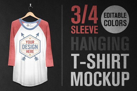Download Hanging 3 4 Sleeve T Shirt Mockup Shirt Mockup Tshirt Mockup Mockup Design
