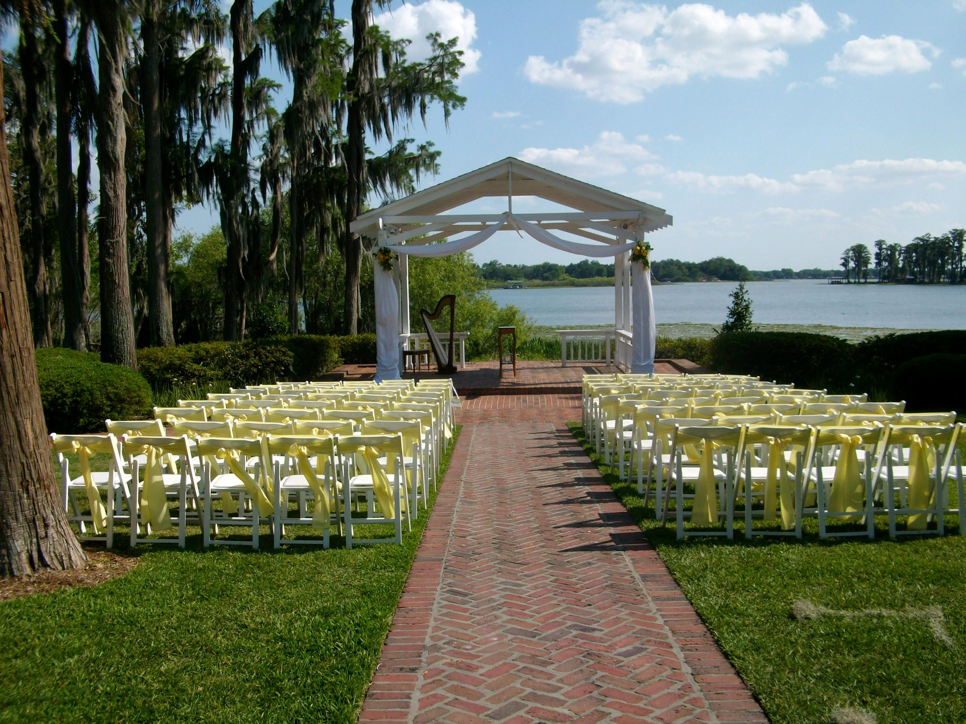 Lakefront Wedding Gazebo At Cypress Grove Estate House For A Ceremony Love The Yellow Color