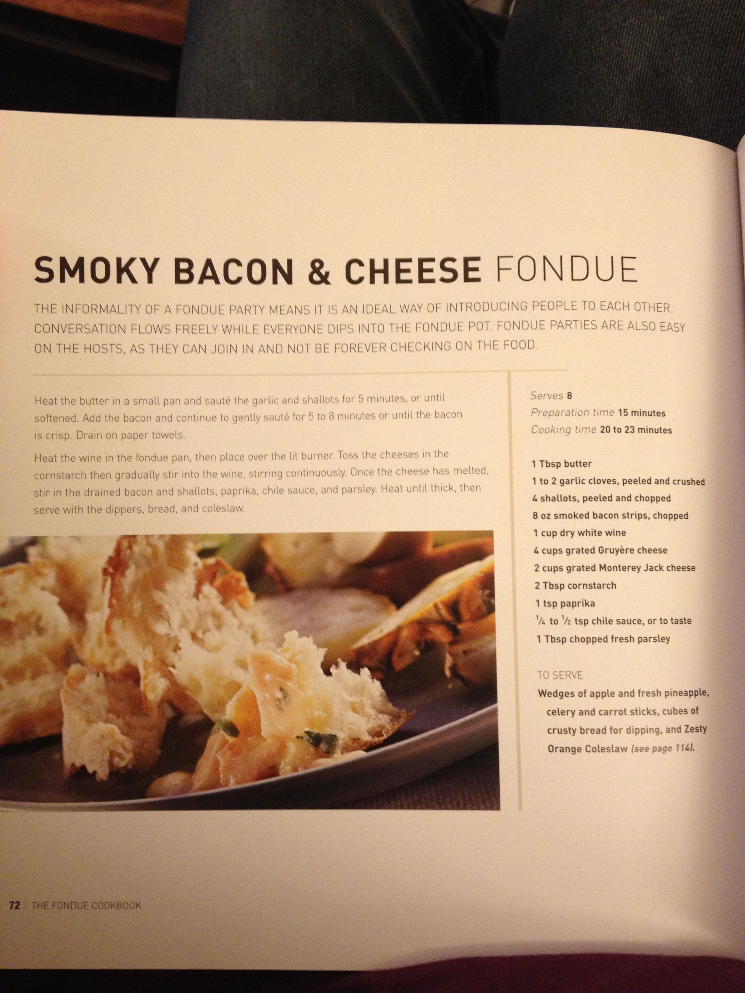Smokey bacon and cheese fondue