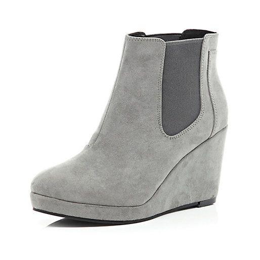 Grey wedge Chelsea boots