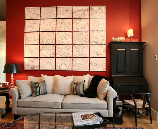 cut up map (red wall: Accent Wall Benjamin Moore Caliente (AF-290))