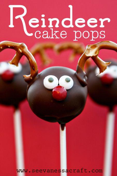 25 Edible Neighbor Gifts Treats Christmas Cake Pops Reindeer