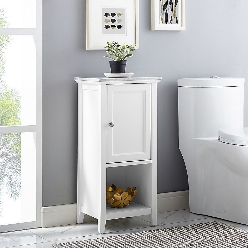 Carrara Marble Top Floor Cabinet Bed Bath Beyond In 2021 Bathroom Wall Storage Bathroom Storage Cabinet Bathroom Wall Storage Cabinets
