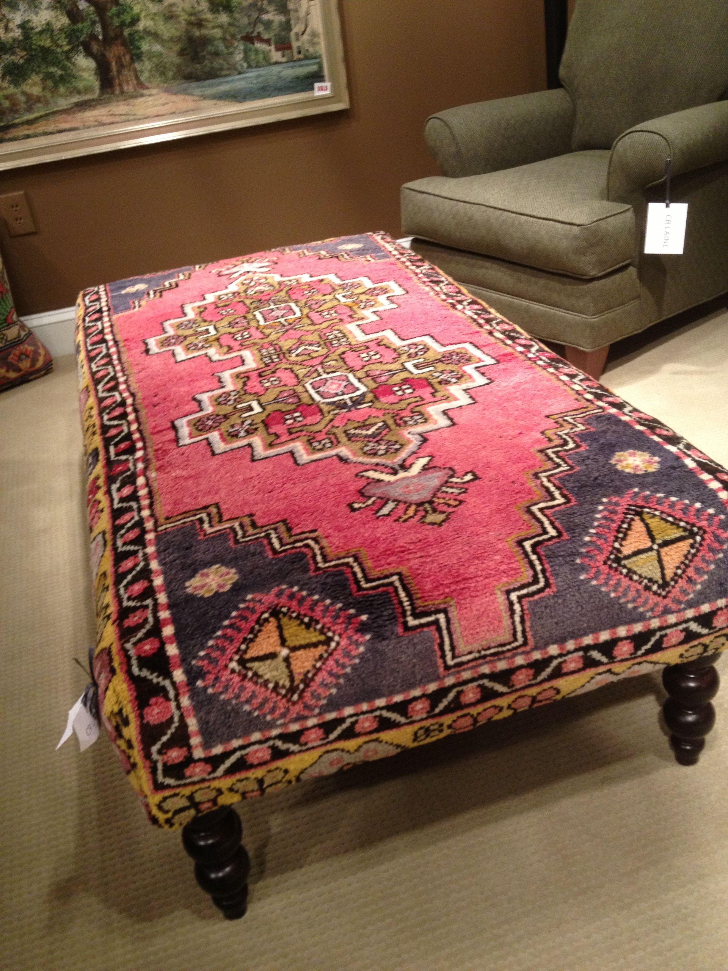 grey fur rug padded bench closet design ideas | Rug upholstered ottoman | Furniture | Pinterest ...