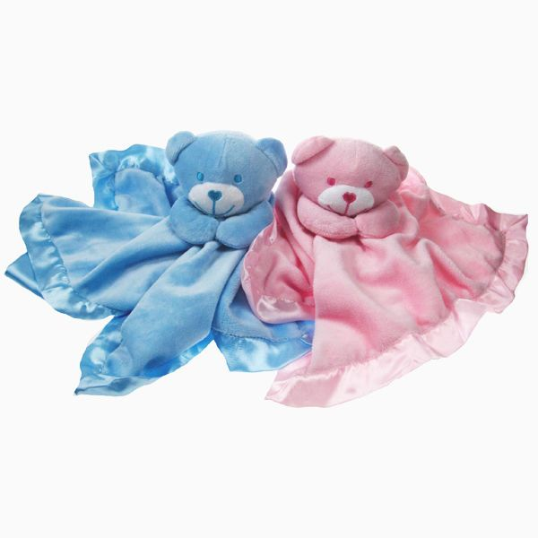 SOFT TOUCH BABY COMFORTER BLANKET BOY GIRL TAGGY-BLUE//WHITE//CREAM OR PINK NEW