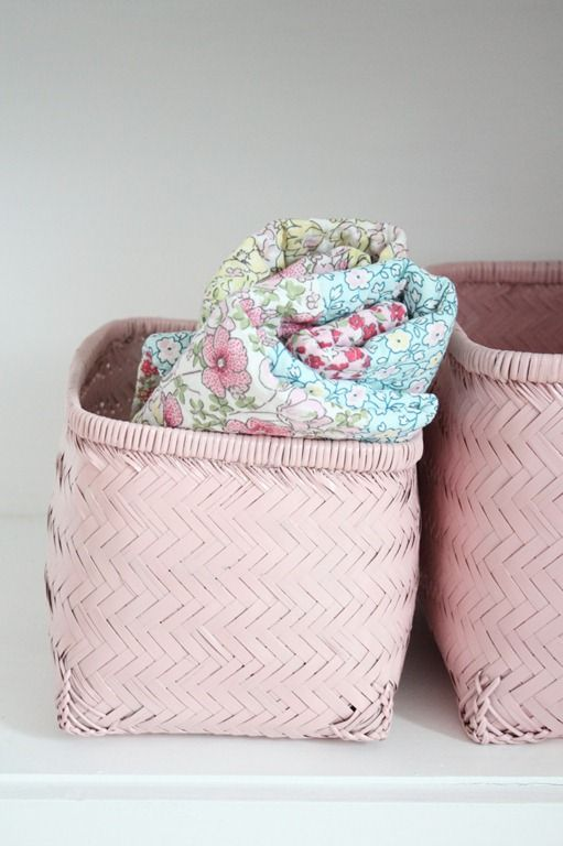 Baby Pink Storage Baskets For Blankets