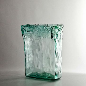Recycled Tall Rectangle Glass Vase Contemporary Vases Other