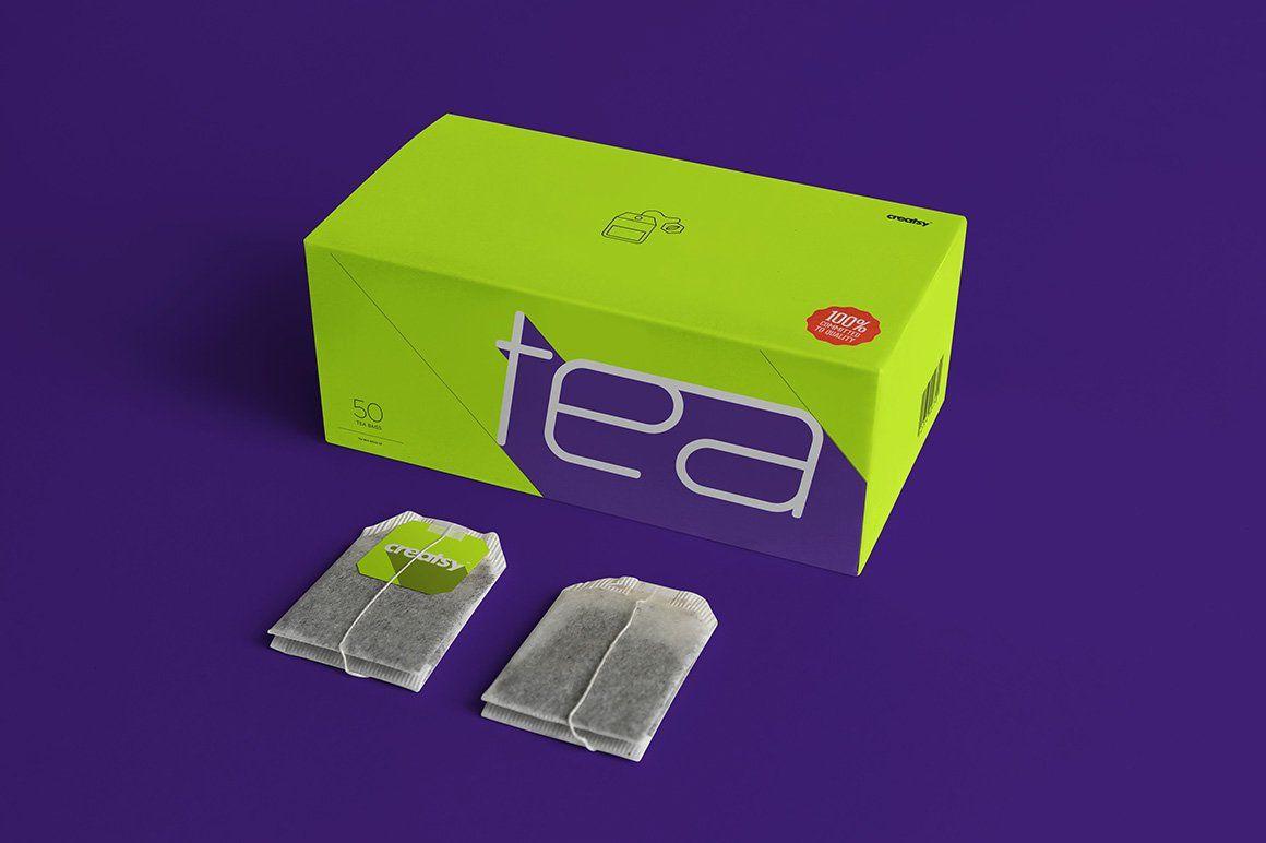 Download Tea Box And Tea Bag Label Mockup Set Tea Box Tea Packaging Design Tea Packaging