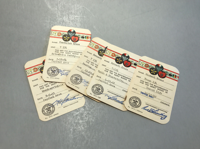 MERIT BADGE CARDS, Vintage Boy Scout cards, Boy scout