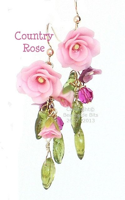 COUNTRY ROSE Artist Flower Earrings Miniature by BeachsideBits, $39.50