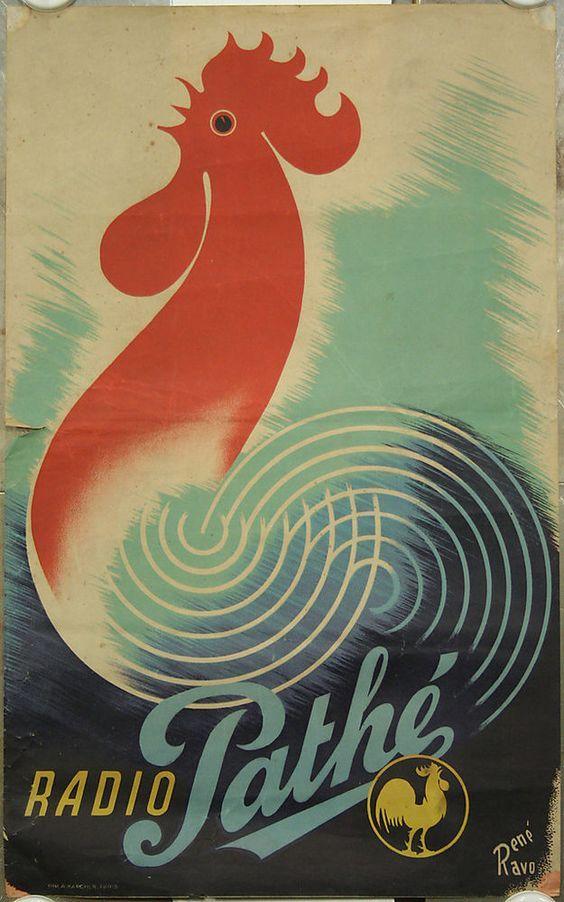 Affiche originale, Radio Pathé, par René Ravo Coq, poste radio, TSF