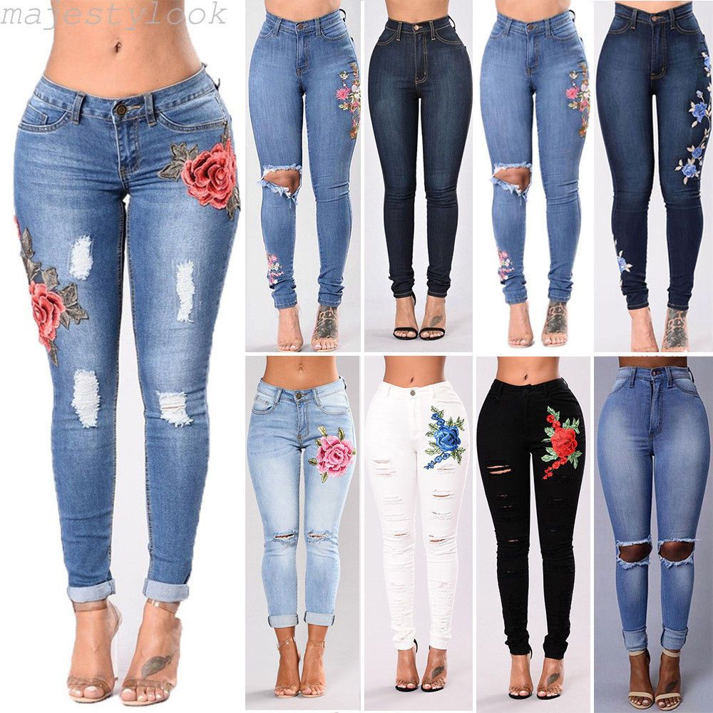 71bffa5ca33d Women Denim Skinny Pants High Waist Stretch Jeans Slim Pencil Trousers Lot