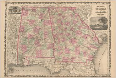 Alabama Georgia Antique Map Johnson 1863. Alabama and ... on map of sw georgia, map of northwest ga, map of southern montana, map tuscaloosa al, map of georgia geology, map of counties of georgia, map tennessee and alabama, county map georgia and alabama, map of georgia alabama line, map of lagrange georgia, map mississippi and alabama,