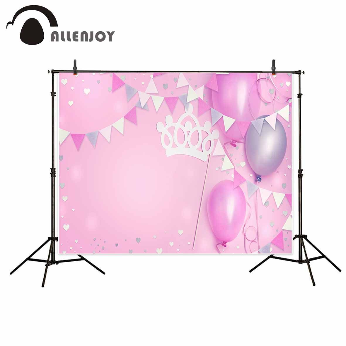 Allenjoy Photography Backdrops Birthday Party Pink Balloons Crown Banner Photo Background For The