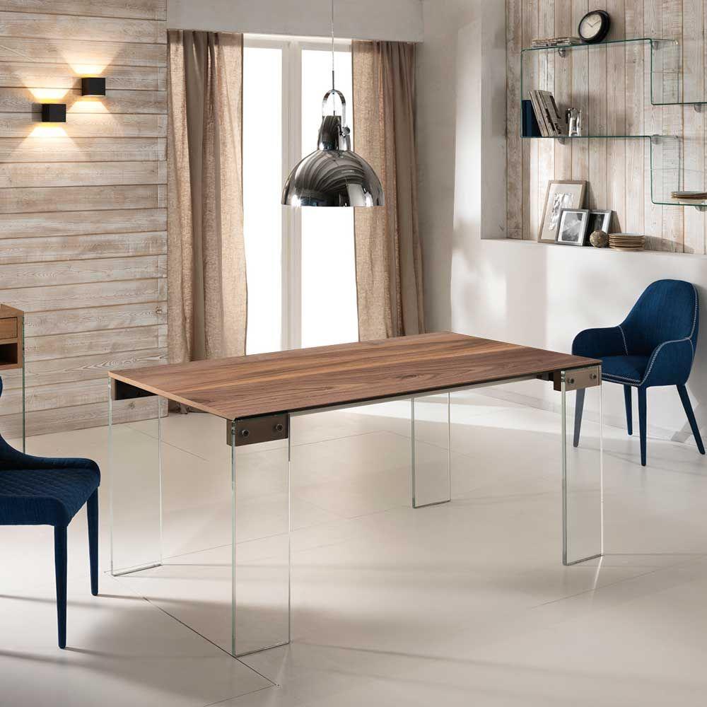 Esszimmertisch mit Nussbaum furniert Glasbeinen Jetzt bestellen ...