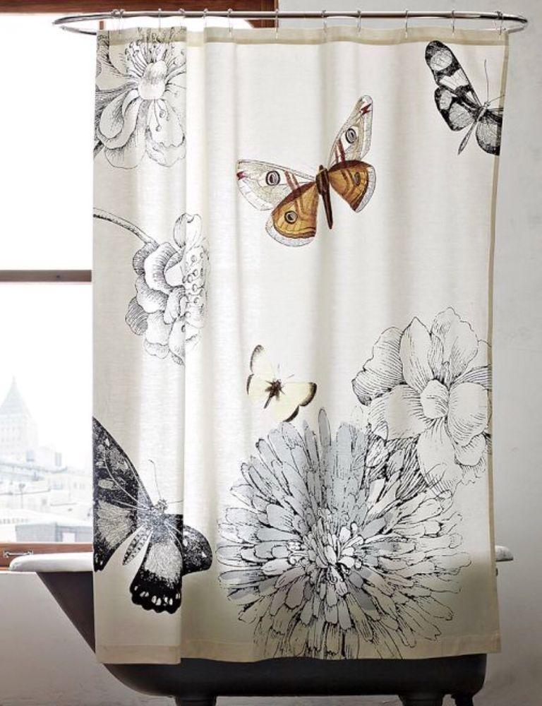 West Elm Mariposa Butterfly Moth Floral Shower Curtain 72x74 Botanical Ebay Butterfly Shower Curtain Floral Shower Curtains Curtains
