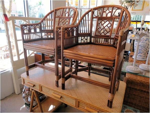 Pair Of VINTAGE Brighton Style RATTAN Barrel Chairs In Good As Found  Condition.