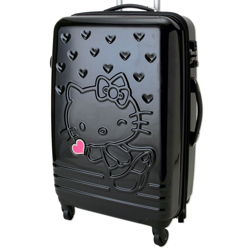 ae044337a3 Hello Kitty Zip Around Travel Carry Bag Suitcase Heart Black Large ...