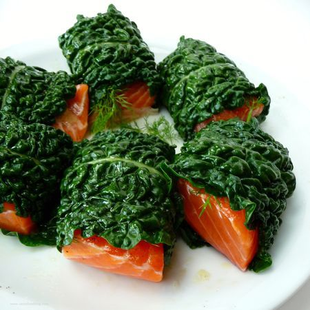 Kale wrapped fish