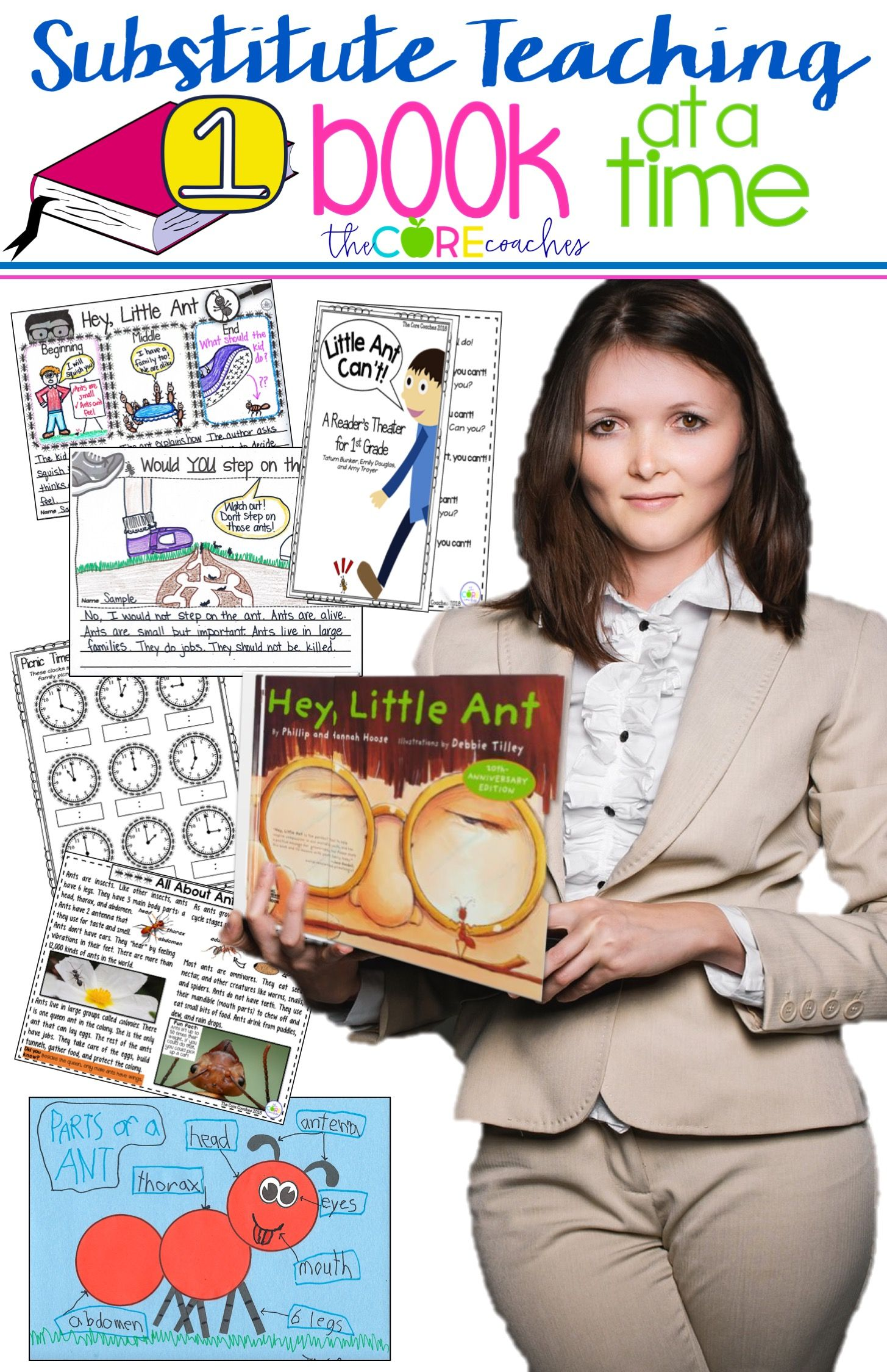 Quality 1st grade lessons for the substitute all based on the book Hey Little Ant! Perfect for an emergency. Substitute Teaching 1 Book at a Time by the Core Coaches