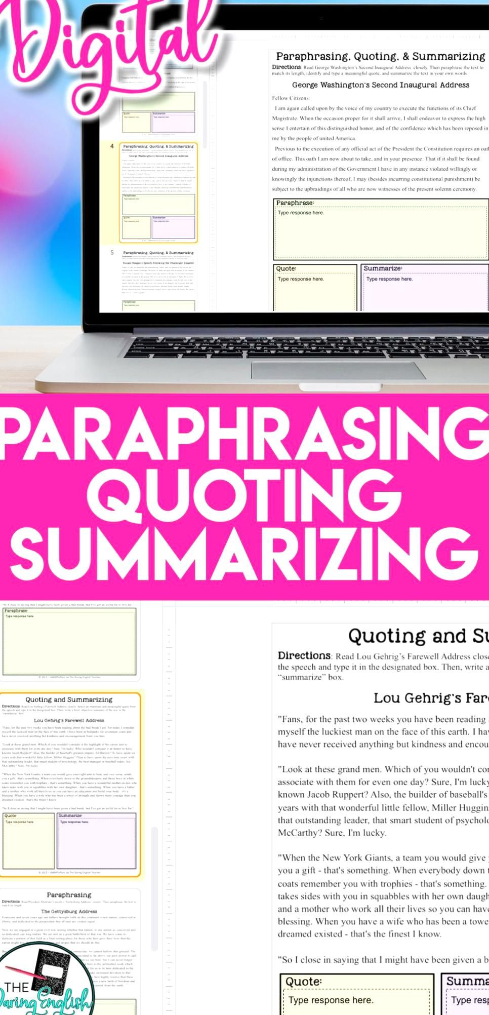 Teach Your Student About The Difference Between Quoting Summarizing And Paraphra Nonfiction Text Activitie Teaching High School English Classroom Identify Paraphrasing