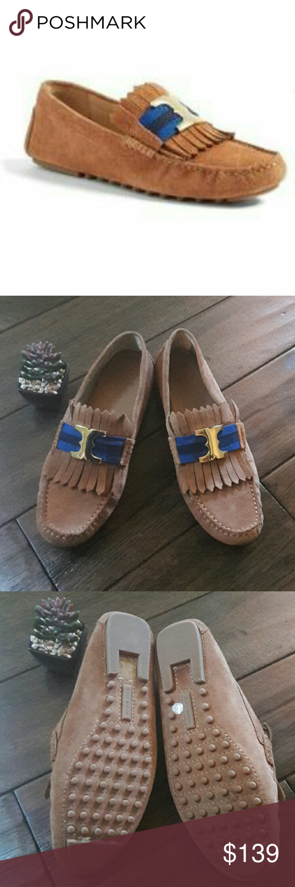 3e6a10ec7e7c GUC Tory Burch Slides Beautiful Tory Burch Gemini Link Suede Link Kiltie  drivers with fringe vamp. Visit