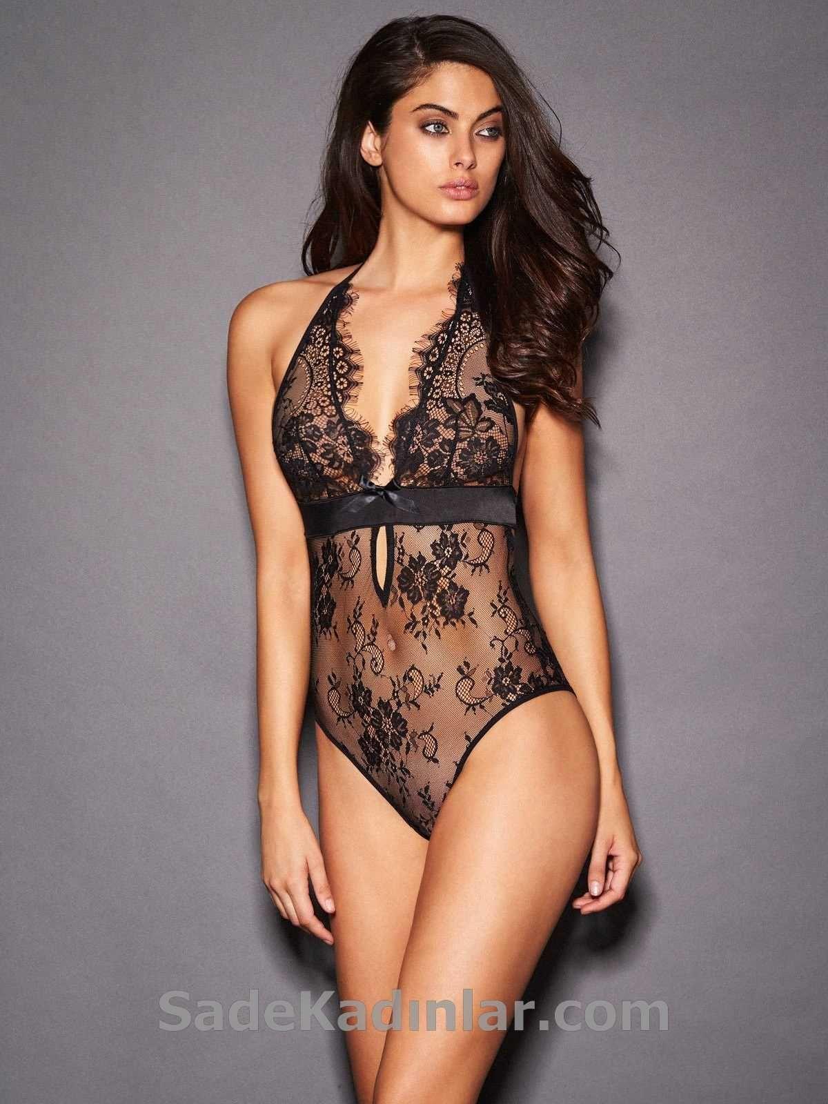 Bayan Ic Giyim Modelleri Siyah Transparan Dantelli Kadin Ic Giyim Moda Stilleri Giyim