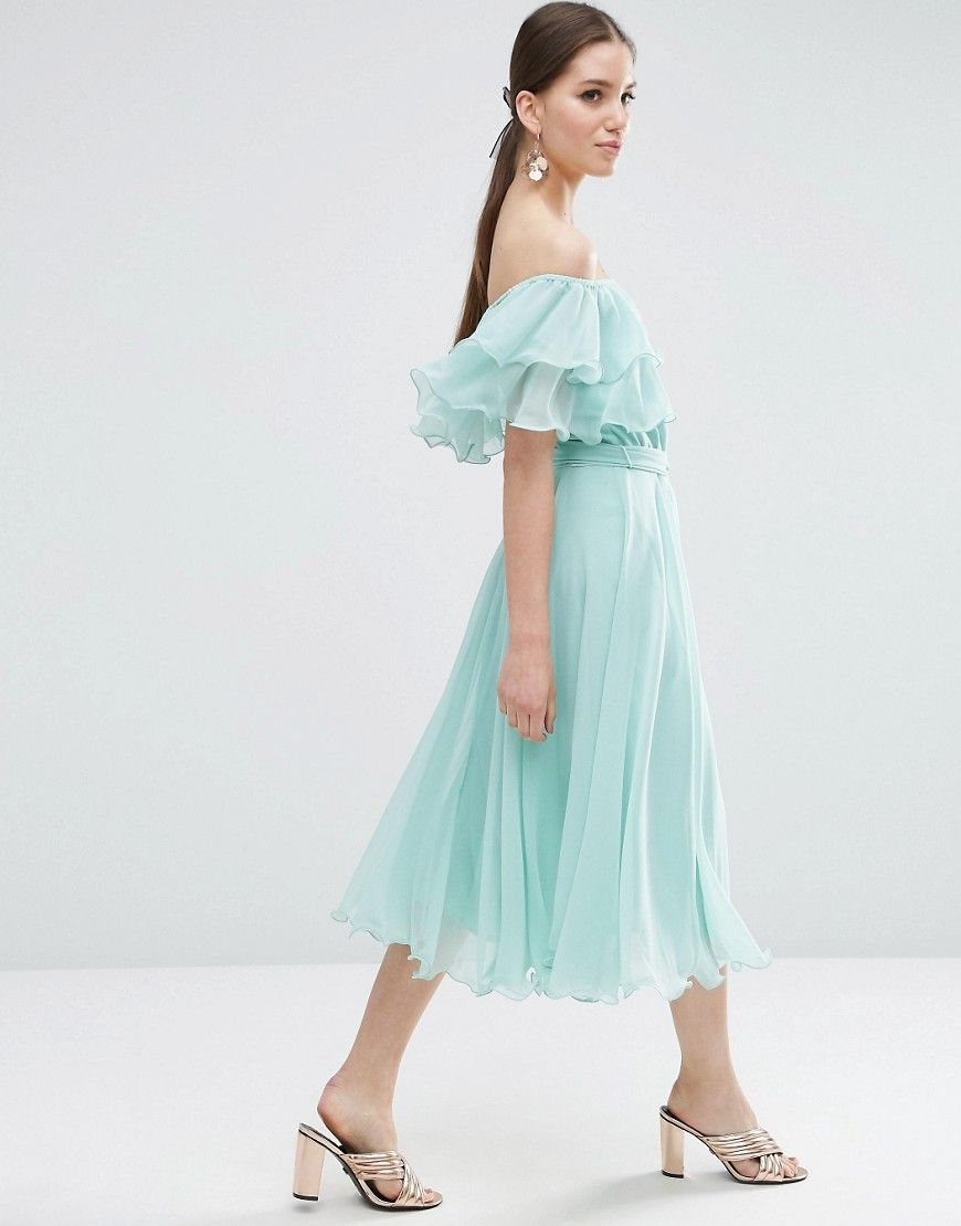 ASOS Bardot Off The Shoulder Multi Ruffle Midi Prom Dress ...