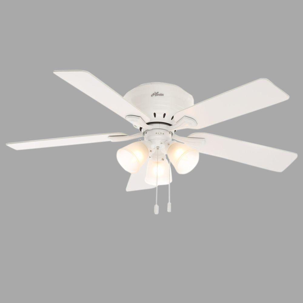 Hunter Reinert 52 In Indoor Low Profile White Ceiling Fan With Light Kit Ceiling Fan White Ceiling Fan White Ceiling