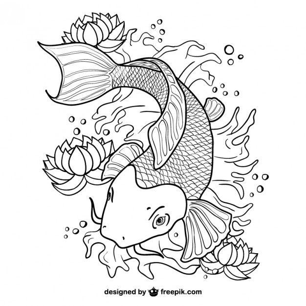 Koi Fish Line Art Vector Koi Fish Colors Fish Coloring Page Koi Fish Drawing