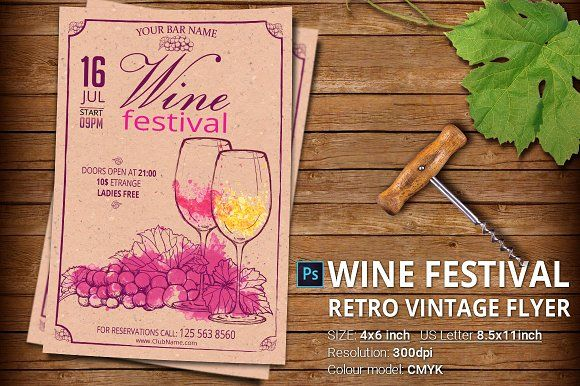 Retro Flyer Template Vintage Flyer Template Vol Photoshop Psd