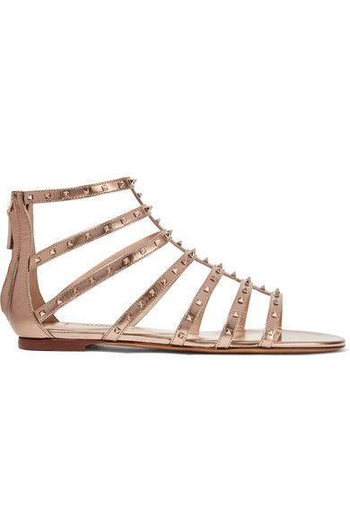 Garavani Metallic Lovestud Valentino Leather Sandals En n0OPwkXN8