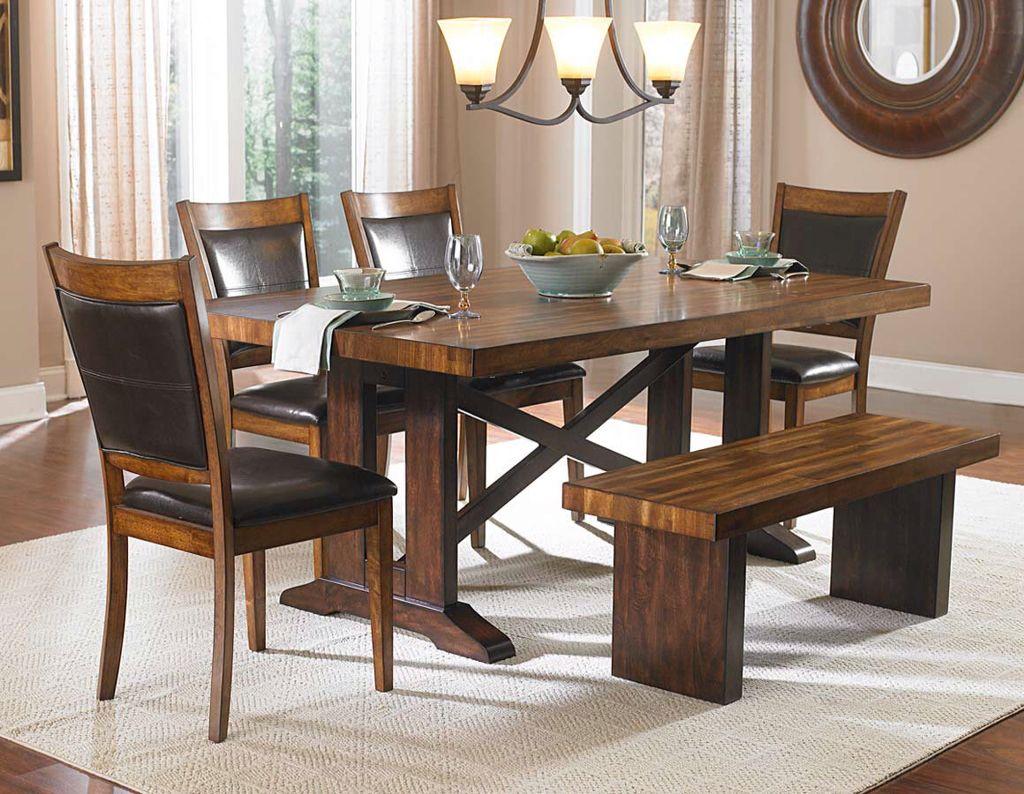 Comedor con banca madera y vinipiel muebles hogar en 2019 pinterest - Comedor con banca ...