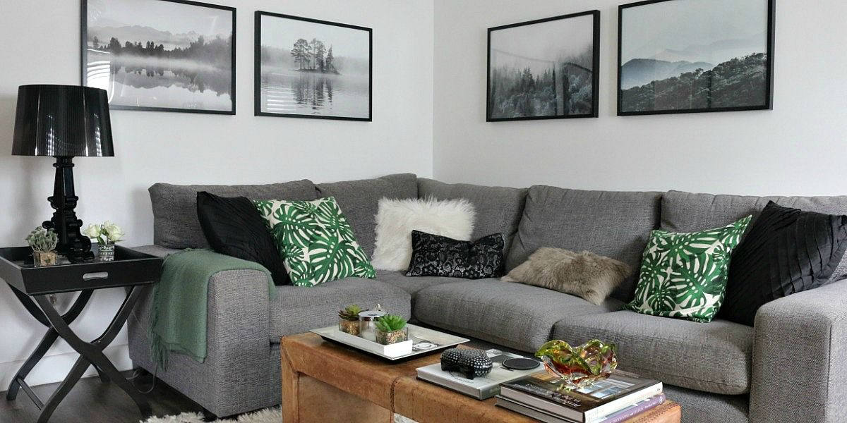 The Finishing Touch Landscape Prints And Botanicals Green Cushions House Interior Gray Sofa